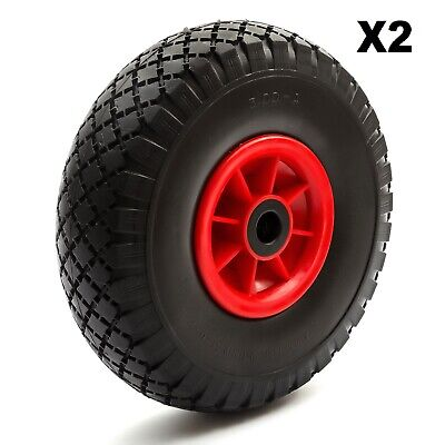 2x Sack Hand Truck PU Tyre + Wheel 10 Inch 3.00-4 3.50-4 Puncture Proof Solid
