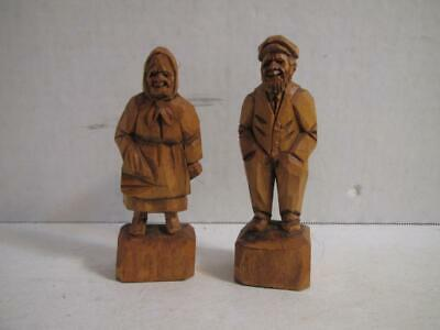 2 Berthier Beauregard Folk Art Carved Wood Wooden Man and Woman Statues Figures