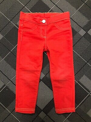 United Colors Of Benetton Skinny Stretch Pants 2Y Baby Girls Red RN#64961