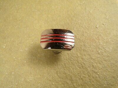 Vintage Chrome Drawer Door Pulls Knob Red Line Stripes Art Deco 30s 40s 50s Hdw.