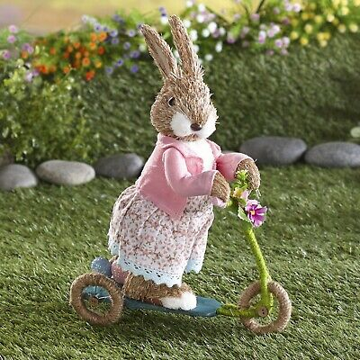Easter Bunny On The Go Figurine with Miniature Scooter - Holiday Decor