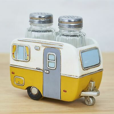 Country Camper Salt and Pepper Shakers with Caravan Holder Tray - Yellow