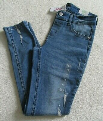 Girl's Justice Jean Jegging Mid Rise Sz 14 Distressed Med Wash - Nwt!