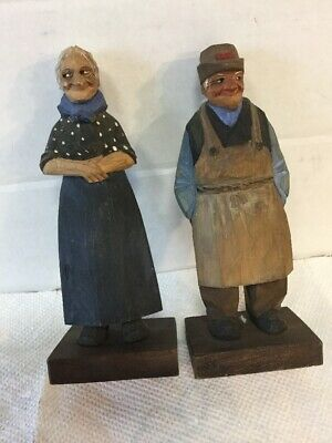 Vintage Pair Hand Carved Painted Wood Man & Woman Figures By Trygg Folk Art