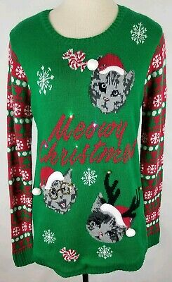 No Boundaries Meowy Christmas Pink Cat Ugly Sweater Silver