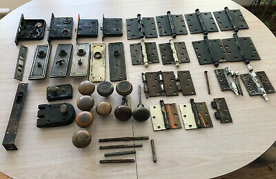 Lot Antique Door Hardware Locks Brass Knobs Hinges Face Plates Vintage Salvage