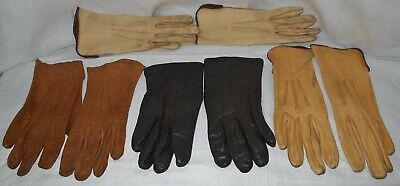 Lot of  4 pair  Vintage Leather Gloves plus 1 Long Pair Leather Gloves Small Cut