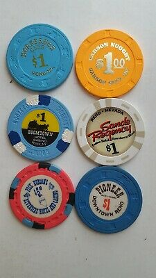 Lot (6) Old Casino Chips from Assorted Casinos in Reno & Carson City,  Nevada