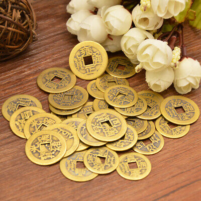 Lots 50 Feng Shui Coins 2.4cm Lucky Chinese Fortune Coin Brass Metal Ching Money