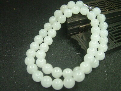 Chinese Antique Celadon Nephrite Hetian-White Jade 10mm Beads Necklace Pendant83