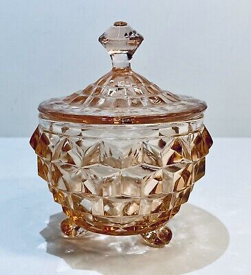Depression Glass Pink Footed Sugar Bowl with Lid ~ Vintage Mid Century Modern