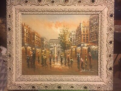 Antique White Gold French Provential Ornate Large Hand Carved Framed Canvas ART