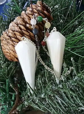 2 Hand Carved Scolecite Crystal Dowsing Pendulum With Chakra Chain And Pouch