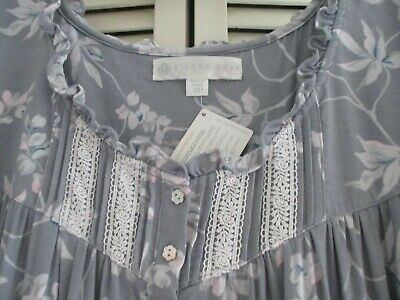 Eileen West Nightgown Modal Grey Foral White Lace Pintucs Cap Sleeve Ruffle 2X