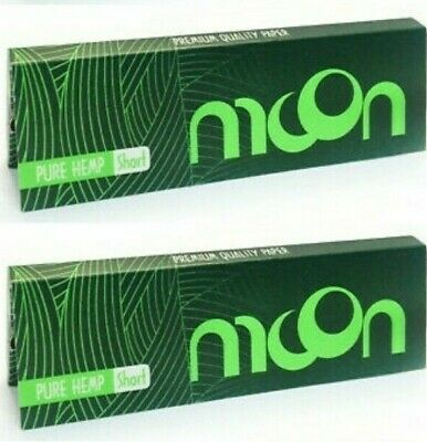 2 Packs Moon Green Hemp Rolling Papers 50 Lvs/Pk Best Deal! USA Shipped