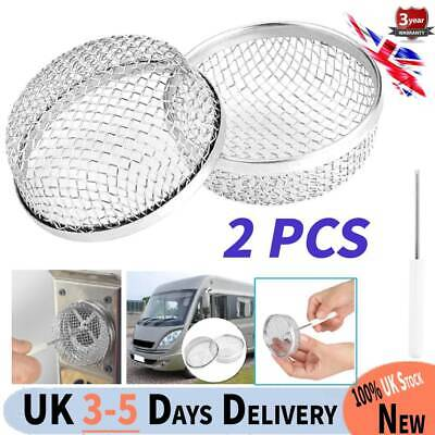 2pcs Stainless Steel Camper Trailer RV Vent Bug Furnace Screen Cover Silver