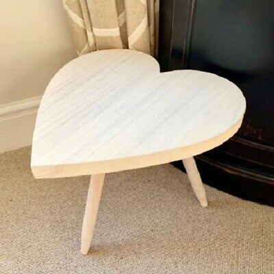 Natural Wooden Heart Shaped Milking Stool 30cm Home Decor Ornament