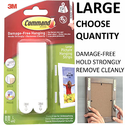 3M Command Strips™️ Picture Frame Hanging Adhesive Stick on LARGE Damage-Free UK