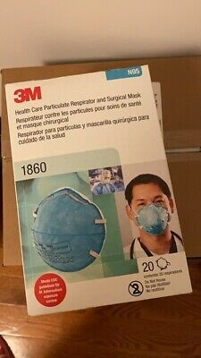 """3M 1860 N95 Health Care Particulate Respirator Surgical Mask,  """"Box of 20 masks"""""""
