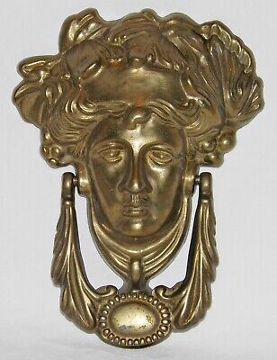Large BRASS FACE Door Knocker GREEK GOD Mythic GODDESS Vintage FIGURAL