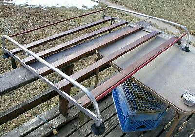 ROOF TOP LUGGAGE RACK OAK & ALUMINUM Hot Old Low Rack Chevy Dodge Ford VW Surf