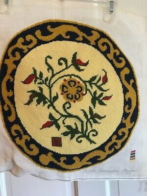 VTG Asian Chinese FLORAL ROUND OVAL NEEDLEPOINT Pillow  Footstool Chair Cover