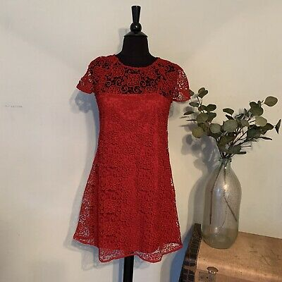 Zara Woman sz XS Deep Red Floral Embroidered Lace Short Sleeve Sheath Dress