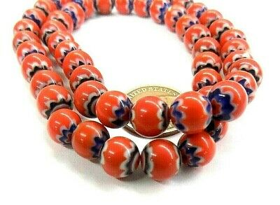Red Core -  Red Chevron Trade Beads  Antique style Trade Beads  CHR  Bin   W3