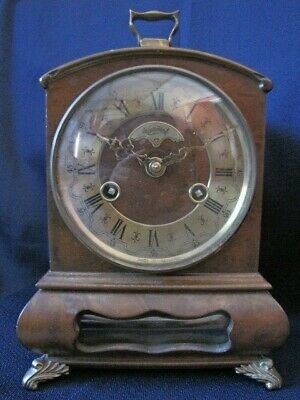 C. 1960 Warmink Wuba 8 Day Half Hour Strike Dutch Mantle/Table Clock Walnut Case