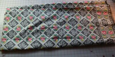 4387 1 yard vintage 1950's cotton fabric, border print with maple leaves, roses