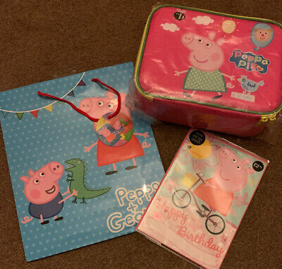 Peppa Pig Birthday Card + Gift Bag + Lunch Box Present ~ Marks And Spencer