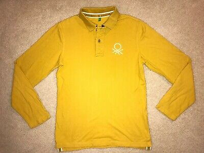 UNITED COLORS OF BENETTON ~ Mens Mustard Long Sleeve Polo Shirt Sz LARGE
