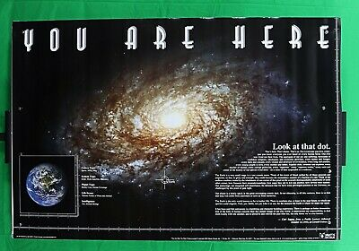 """You Are Here earth and galaxy Poster 24"""" X 36"""" Universe Solar System NOS (b680)"""