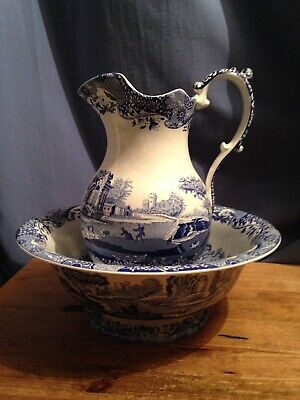 A Large Pitcher Jug and Wash Basin in the Spode Blue Italian Pattern