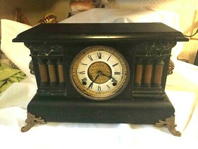 Antique Gilbert 8 Day Mantle Clock Cathedral Style Gong-1909