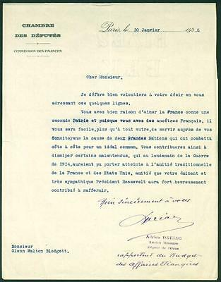Adrien Dariac, French Politician, Typed Letter Signed, COA, UACC RD 036