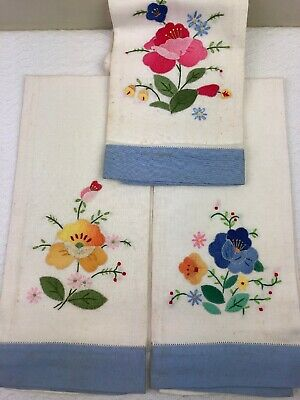 Vintage Linen Napkins 3 Snowy White Cut Work & Embroidery Flowers