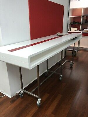 Large rolling bench white red / standing office work bench