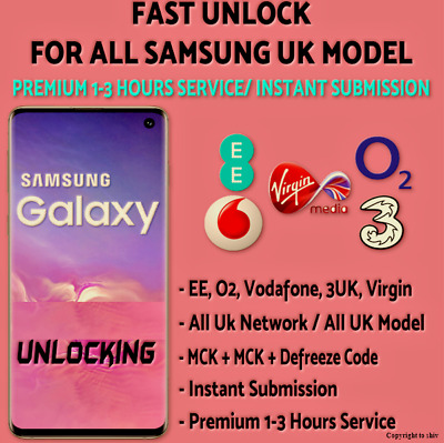 SAMSUNG UNLOCK CODE S9 S8 S7 S6 Note 10 9 8 5 4 3 EE O2 Vodafone Virgin UK Fast