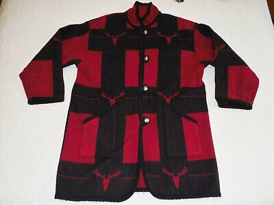 WOOLRICH Red and Black Indian Blanket Wool Blend 3/4 Length Coat Southwest - M