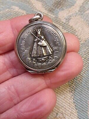 Antique German Sterling 800 Silver Angels Black Madonna Mary Locket Reliquary