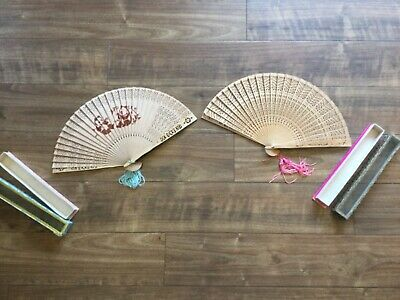 Two Vintage Bamboo Hand Fans - Boxed