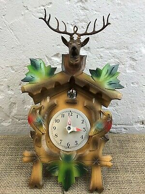Vintage German Black Forest Carved Wooden Cuckoo Clock With Stags Head