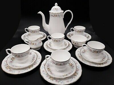 Mayfair Floral 21Pc Tea Set Teapot/Cups Saucers Side Plates Milk Jug Sugar Bowl