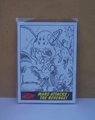 2017 Topps Mars Attacks Revenge Shooting Giant Caterpillar Sketch card by Drone