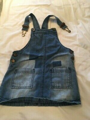 NEXT - GIRLS DENIM PINAFORE - BLUE -  SIZE 2/3yrs