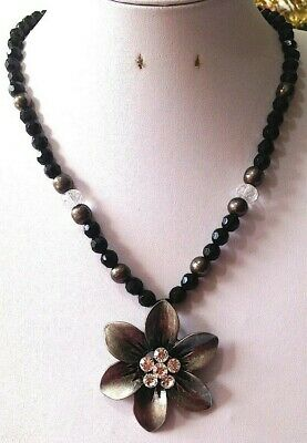 Black Beaded Statement Necklace with Dark Silver Tone White Crystal Flower