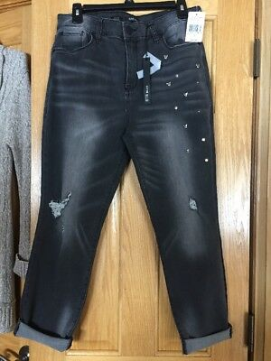 Womens STS Capri Cropped Jeans Stretch Blue New Gray Sz 31 High Rise Studded NWT