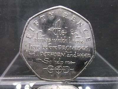 2018 Saphire Collection Oath IOM 50 Fifty Pence Coin circulated vgc