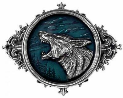 """Alchemy Gothic WULVEN BELT BUCKLE """"OF THE WOLF"""" Blue Enamel Wolves Tribal Rock"""